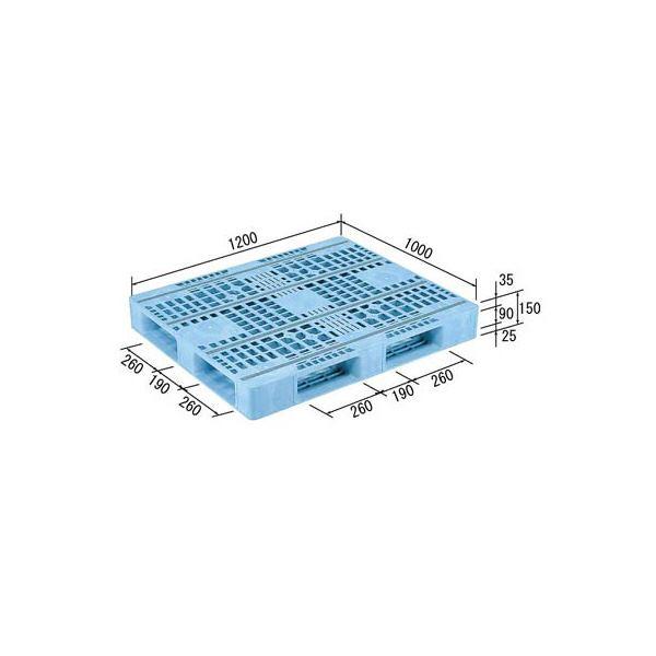 【送料無料】三甲(サンコー) プラスチックパレット/プラパレ 【片面使用型】 軽量 D4-1012F-3 (PE) ライトブルー(青)【代引不可】