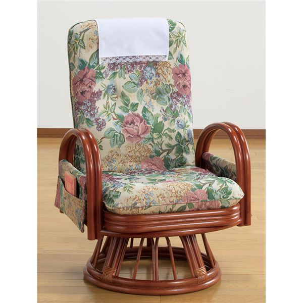 【送料無料】天然籐リクライニングハイバック回転座椅子ミドルタイプ (サイドポケット付き)【代引不可】
