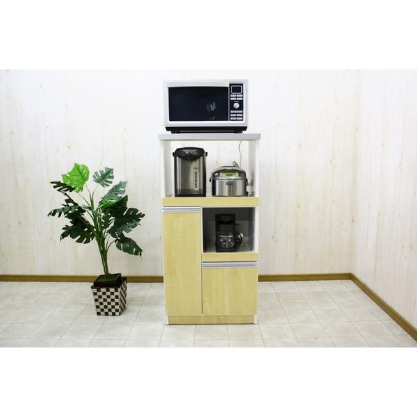 【送料無料】レンジ台(キッチン収納) 2型 幅60cm スライドレール/二口コンセント/米びつ付き 日本製 ナチュラル 【完成品】【代引不可】