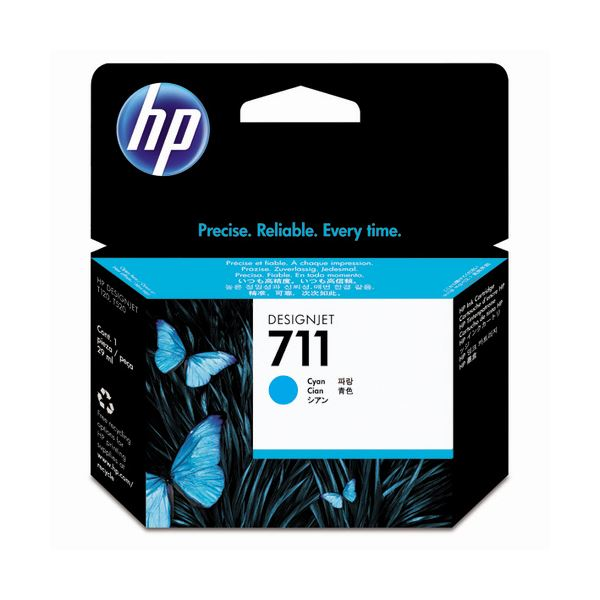 (まとめ) HP711 インクカートリッジ シアン 29ml 染料系 CZ130A 1個 【×3セット】