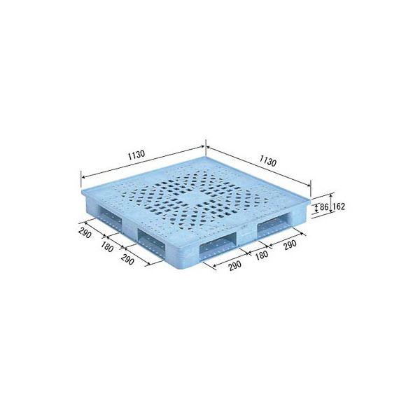 【送料無料】三甲(サンコー) プラスチックパレット/プラパレ 【片面使用型】 D4-1111FN ライトブルー(青)【代引不可】
