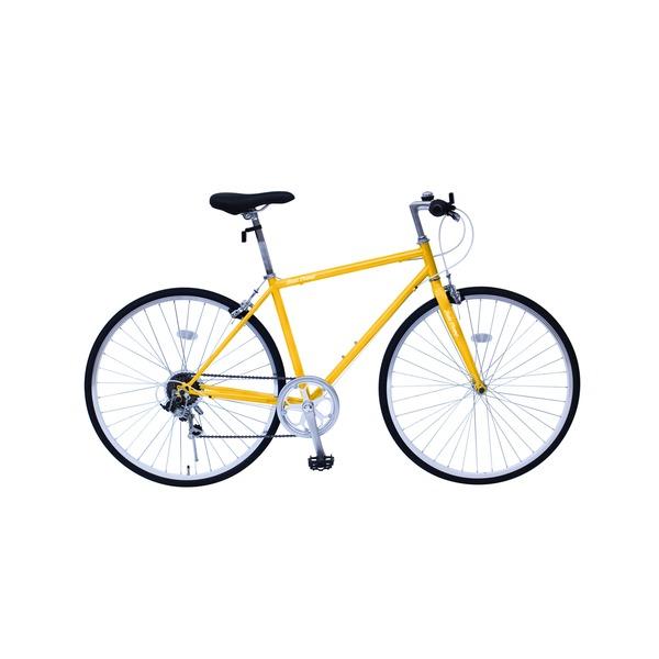 【送料無料】6段変速 クロスバイク 【イエロー】 700C スチール 幅169cm×奥行53cm×高さ100cm サドル83cm~101cm 重量17kg 『FIELD CHAMP』【代引不可】
