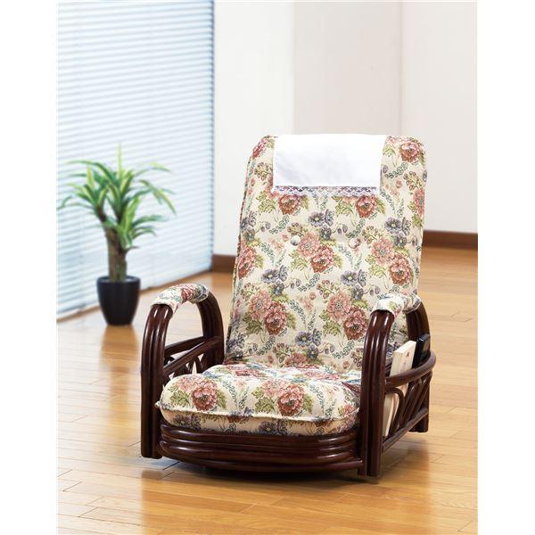 【送料無料】天然籐リクライニング回転座椅子 ロータイプ【代引不可】