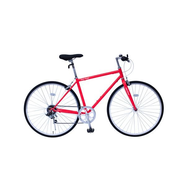 【送料無料】6段変速 クロスバイク 【レッド】 700C スチール製 幅169cm×奥行53cm×高さ100cm サドル83cm~101cm 重量17kg 『FIELD CHAMP』【代引不可】