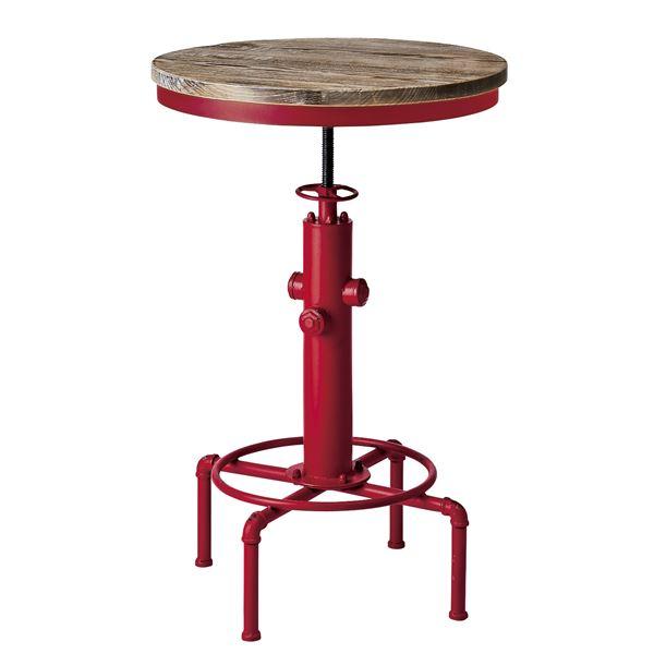 【送料無料】シンプル バーテーブル/カウンターテーブル 【直径60cm レッド】 天板昇降式 天然木・スチール 『インダストリアルシリーズ』【代引不可】