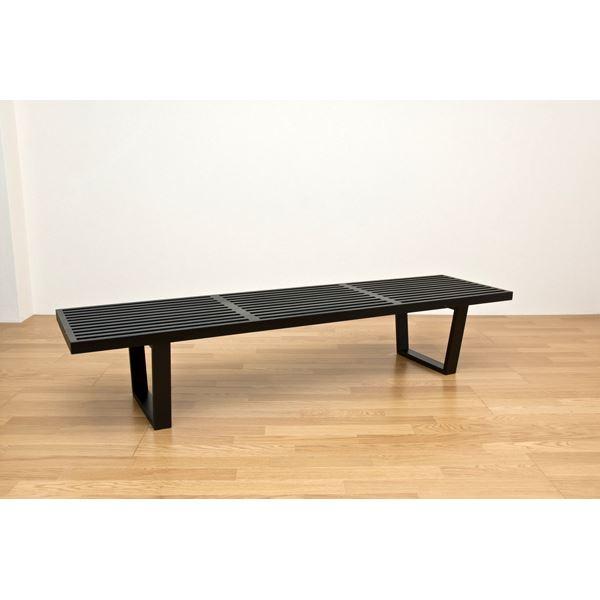 【送料無料】ネルソンベンチ(プラットホームベンチ) 【幅180cm】 木製 ミッドセンチュリー風 ブラック(黒)【代引不可】