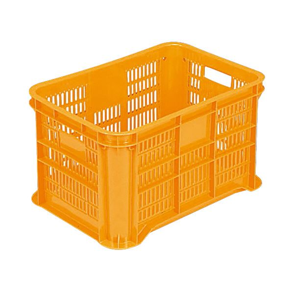 【送料無料】(業務用8個セット)三甲(サンコー) 全面網目コンテナボックス/サンテナー スタッキング可 B50-3 PE製 オレンジ 【代引不可】