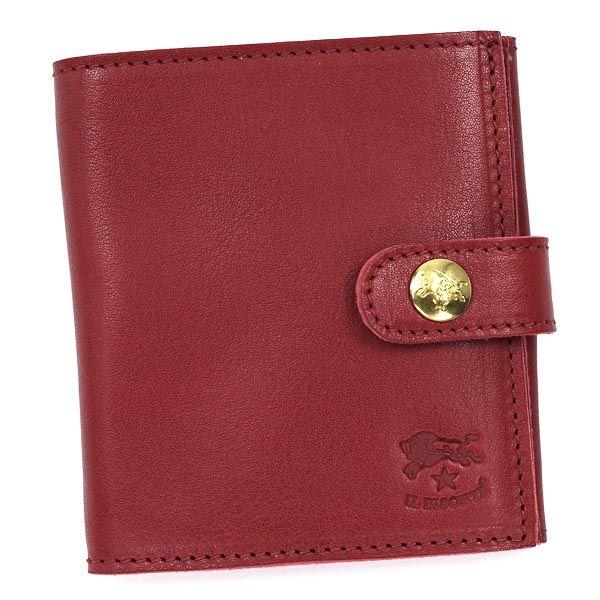 【送料無料】IL BISONTE(イルビゾンテ )二つ折り財布(小銭入れ付) C0955 245 ROSSO RUBINO