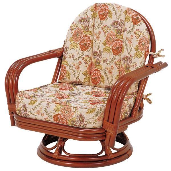 【送料無料】回転座椅子/パーソナルチェア 【ゆったりサイズ】 座面高26cm 木製(ラタン製) 肘付き【代引不可】