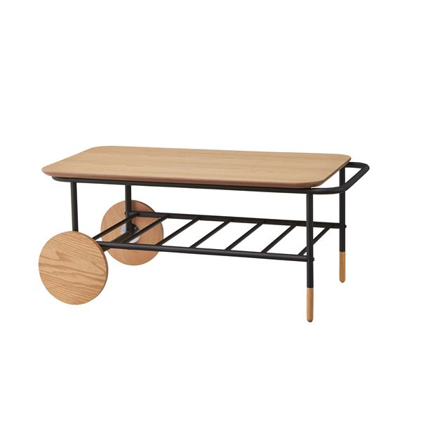 【送料無料】センターテーブル/ローテーブル 【幅92cm】 スチール×木製 収納棚付き 『オセロ』 END-111