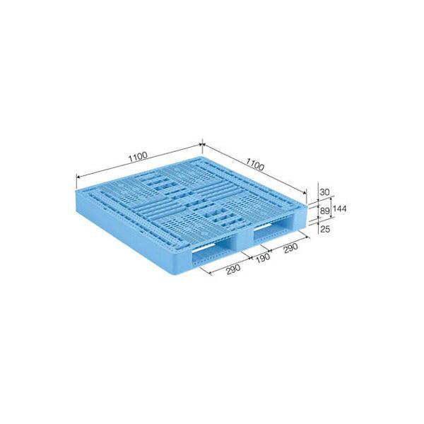 【送料無料】三甲(サンコー) プラスチックパレット/プラパレ 【片面使用型】 D2-1111 ライトブルー(青)【代引不可】