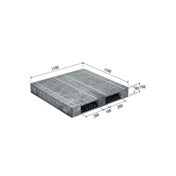 【送料無料】三甲(サンコー) プラスチックパレット/プラパレ 【両面使用型】 段積み可 R2-1111F-2 グレー(灰)【代引不可】