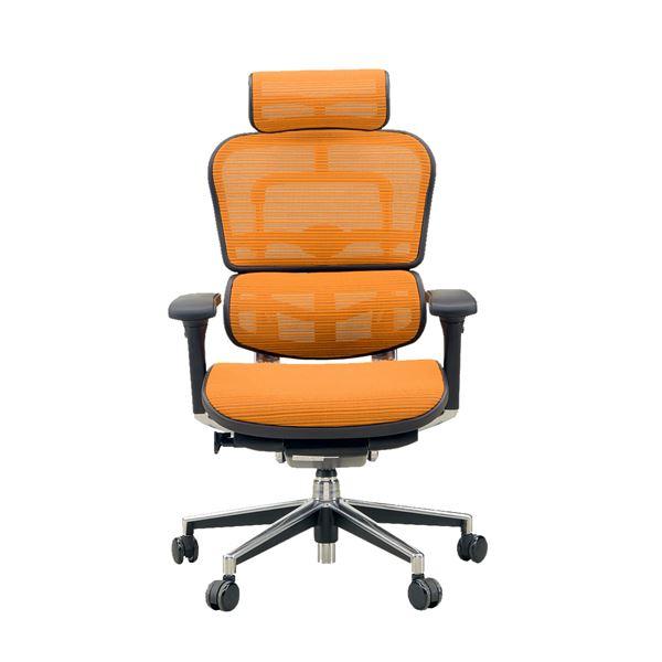 【送料無料】オフィスチェア アームレスト付き ランバーサポート付き Ergohuman Basic(エルゴヒューマンベーシック) ハイタイプ オレンジ【代引不可】