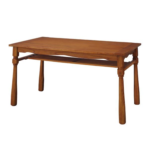 【送料無料】カントリー調 ダイニングテーブル/リビングテーブル 【幅135cm】 木製 収納棚付き 『ヘリオス』