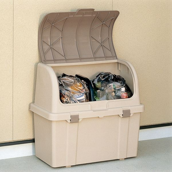 【送料無料】大容量ゴミ箱収納庫/分別ストッカー 【屋外用 220L】 フタ:片手開閉可 ベージュ 日本製