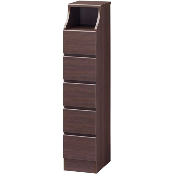 【送料無料】木製シンプルチェスト/収納タンス 【5段 幅28cm×高さ130cm】 ブラウン 収納棚付き 組み立て簡単 『CHESCA チェスカ』【代引不可】