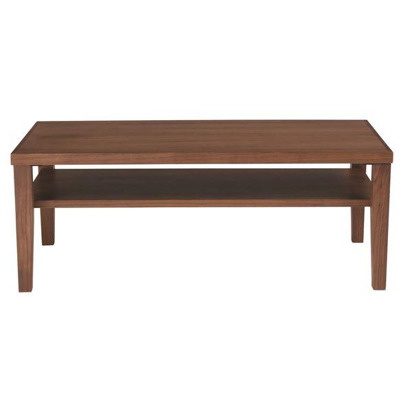 【送料無料】センターテーブル(ローテーブル/リビングテーブル) ウォールナット  長方形 幅100cm 木製/ウォールナット突板 収納棚付き【代引不可】