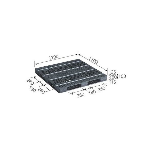 【送料無料】三甲(サンコー) プラスチックパレット/リサイクルパレット 【片面使用型】 D4-1111-10 ブラック(黒)【代引不可】