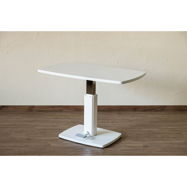 【送料無料】昇降式 ダイニングテーブル 【幅105cm×奥行60cm ホワイト】 フットペダル付き スチール 〔リビング 部屋〕【代引不可】