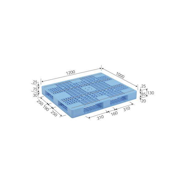 【送料無料】三甲(サンコー) プラスチックパレット/プラパレ 【片面使用型】 D4-1012-7 ライトブルー(青)【代引不可】