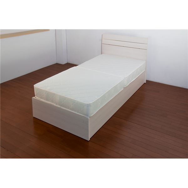 ホテルスタイルベッド シングル 二つ折りボンネルコイルスプリングマットレス付 【ホワイト】【代引不可】