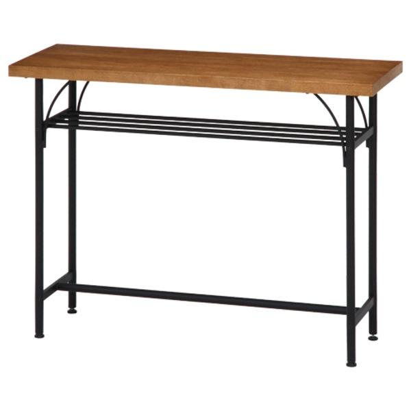 【送料無料】北欧風 カウンターテーブル/ダイニングテーブル 【幅110cm ブラウン】 スチールフレーム 収納棚付き 『レアル』【代引不可】