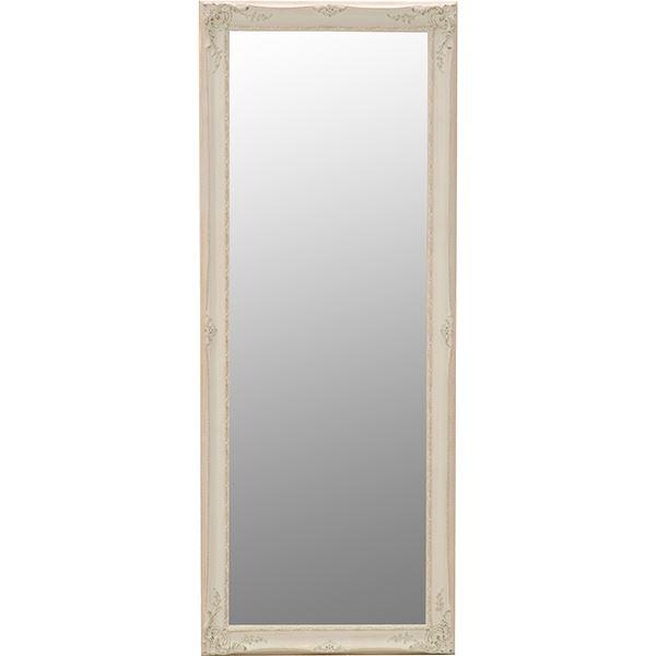 【送料無料】スタンドミラー/全身姿見鏡 【立て掛けタイプ】 幅65cm×高さ165cm 木製 アンティーク調 ホワイト(白)【代引不可】