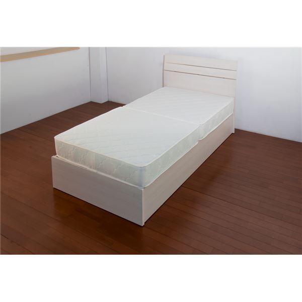 【送料無料】ホテルスタイルベッド セミダブル 二つ折りボンネルコイルスプリングマットレス付 【ホワイト】【代引不可】