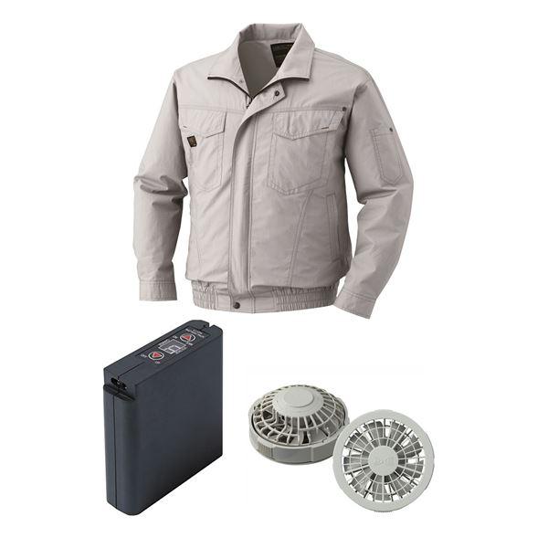 【送料無料】空調服 綿薄手タチエリ空調服 大容量バッテリーセット ファンカラー:グレー 1400G22C06S3 【カラー:シルバー サイズ:L】