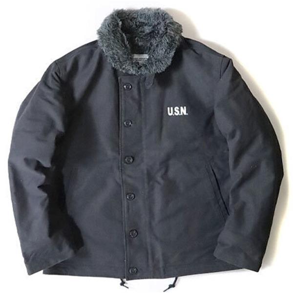 【送料無料】USタイプ 「N-1」 DECK ジャケット ブラック(裏ボアグレー) 34(S)サイズ【レプリカ】
