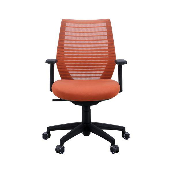 【送料無料】座面昇降式オフィスチェア/デスクチェア 【肘付き×オレンジ】 メッシュ素材 リクライニング キャスター付き 『ビートル』【代引不可】