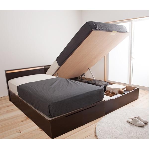 【送料無料】国産 宮付き 照明付き ガス圧 跳ね上げ式ベッド(ポケットコイルマットレス付き)セミシングル ブラウン【代引不可】
