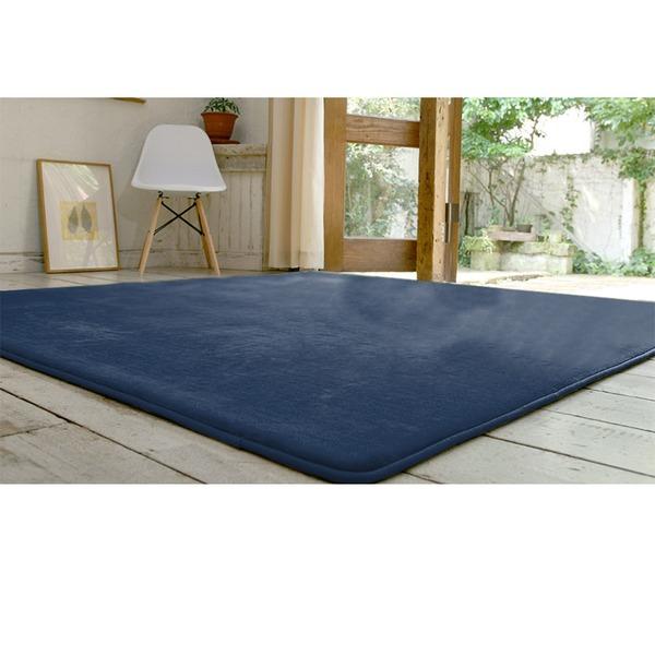 フランネル ラグマット/絨毯 【190cm×190cm インディゴ】 正方形 ホットカーペット 床暖房可 低反発&高反発 防音 防滑【代引不可】