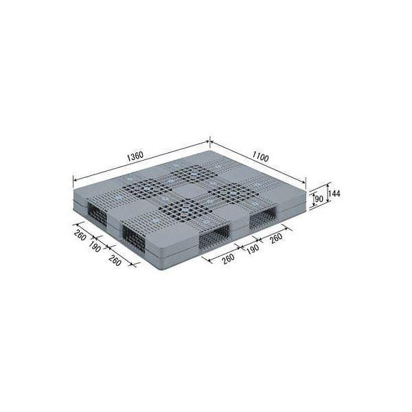 【送料無料】三甲(サンコー) プラスチックパレット/プラパレ 【両面使用型】 段積み可 R4-110136 PE グレー(灰)【代引不可】