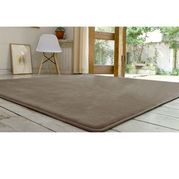 フランネル ラグマット/絨毯 【190cm×190cm ライトブラウン】 正方形 ホットカーペット 床暖房可 低反発&高反発 防音 防滑【代引不可】
