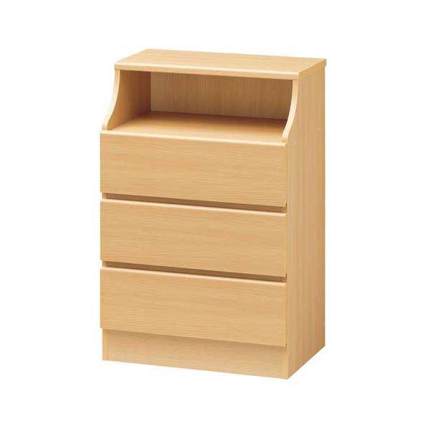 【送料無料】木製シンプルチェスト/収納タンス 【3段 幅60cm】 ナチュラル 収納棚付き 組み立て簡単 『CHESCA チェスカ』【代引不可】
