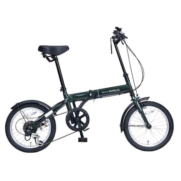 【送料無料】MYPALLAS(マイパラス) 6段変速付コンパクト自転車 折畳16・6SP M-103-GR グリーン【代引不可】