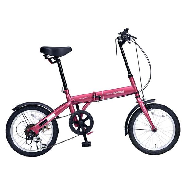 【送料無料】MYPALLAS(マイパラス) 6段変速付コンパクト自転車 折畳16・6SP M-103-RO ルージュ【代引不可】