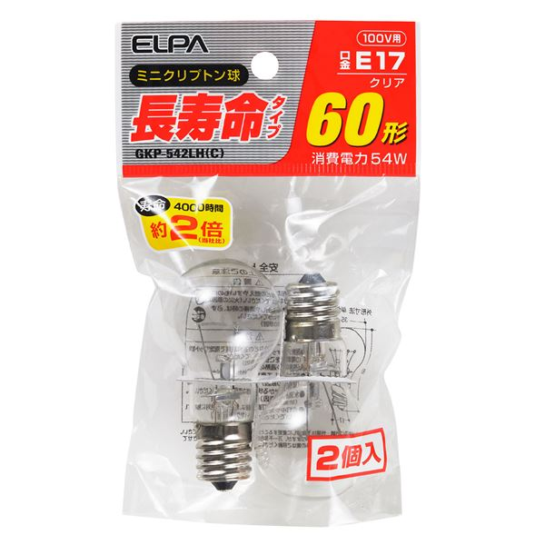 (業務用セット) ELPA 長寿命ミニクリプトン球 電球 60W形 E17 クリア 2個入 GKP-542LH(C) 【×20セット】