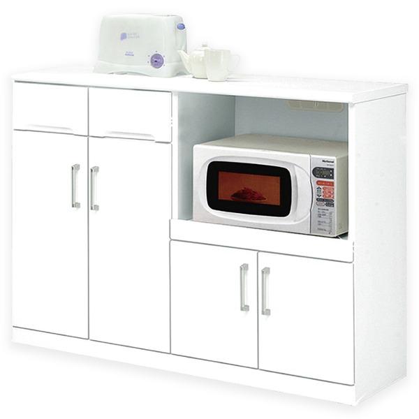 【送料無料】キッチンカウンター 幅120cm 二口コンセント/可動棚/キャスター付き 日本製 ホワイト(白) 【完成品 開梱設置】【代引不可】