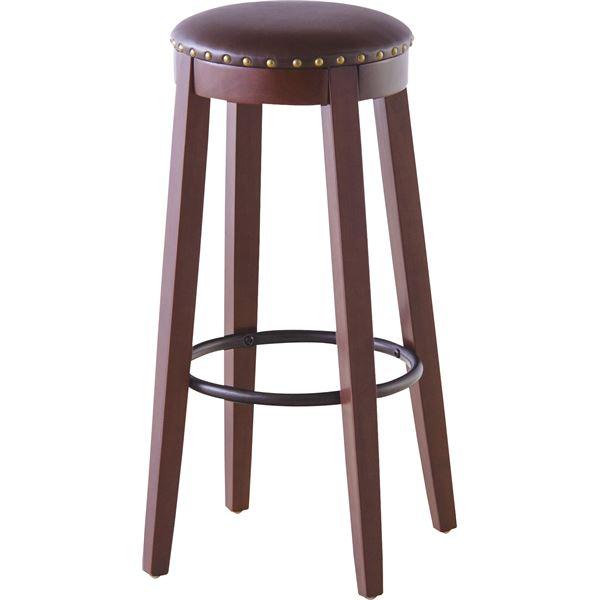 【送料無料】(2脚セット)東谷 カウンターチェア(ハイチェア) 木製/ソフトレザー 高さ70cm RKC-267BR ブラウン