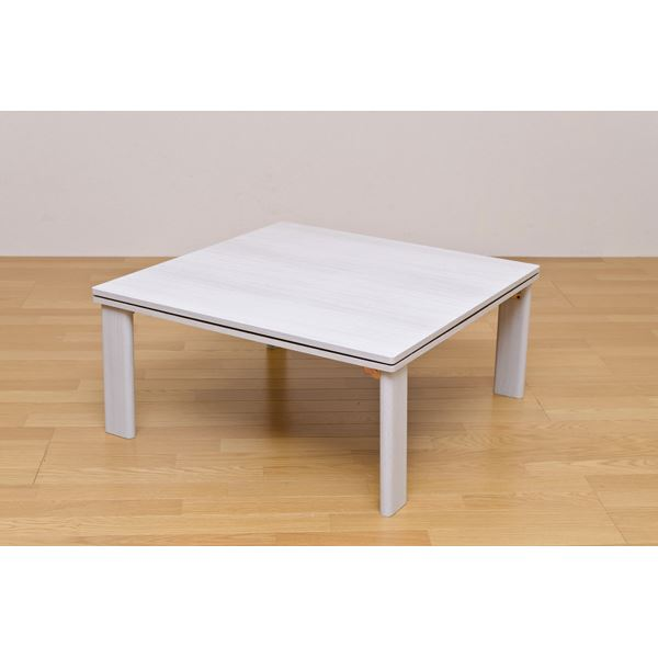 【送料無料】折れ脚フラットヒーターこたつテーブル(折りたたみこたつ) 【正方形/80cm×80cm】 木製 本体 ホワイト(白)【代引不可】