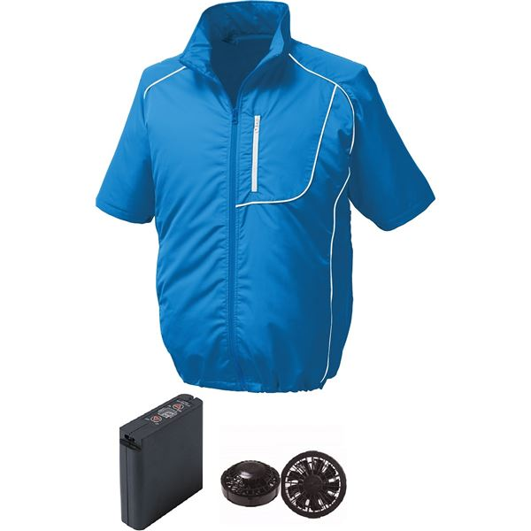 【送料無料】ポリエステル製半袖空調服 大容量バッテリーセット ファンカラー:ブラック 1720B22C04S3 【ウエアカラー:ブルー×ホワイト L】