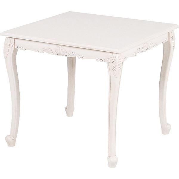 【送料無料】ダイニングテーブル/リビングテーブル 【正方形/幅80cm】 木製 猫足 アンティークホワイト 『ヴィオレッタシリーズ』 【代引不可】