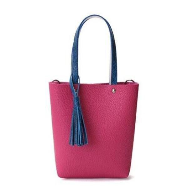 【送料無料】カラフル5色♪柔らか素材のツートン2Wayハンドバッグ/チェリーピンク