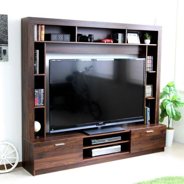 【送料無料】テレビ台 ハイタイプ 壁面家具 リビング壁面収納 60インチ対応 TV台 ブラウン