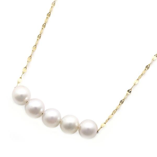 【送料無料】アコヤ真珠 ネックレス パールネックレス K18 イエローゴールド 約5mm 約5mm 約5ミリ珠 5個 K18 ペンダント あこや真珠 ペンダント シンプル パール 本真珠, OneDay online shop:154a68c4 --- ww.thecollagist.com
