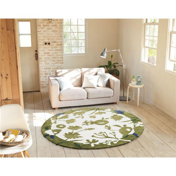 ラグマット/絨毯 【SPRING RUG 150cm×150cm グリーン】 日本製 正方形 『NEXTHOME』 〔リビング ダイニング〕【代引不可】
