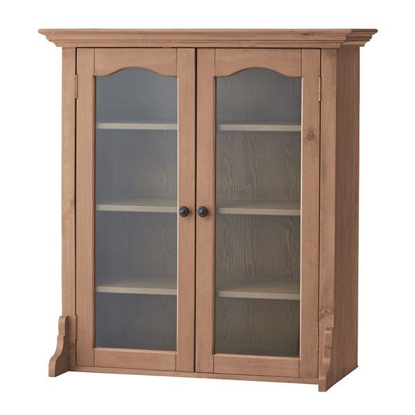 【送料無料】天然木カップボード(食器棚/キッチン収納) B 幅85cm×奥行40cm ガラス扉付き木目調 PM-615B
