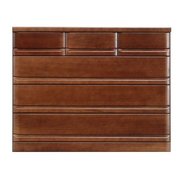 【送料無料】ローチェスト/収納棚 【4段/幅120cm】 ブラウン 『クエスト』 木製 長引出フルオープンレール付き【代引不可】